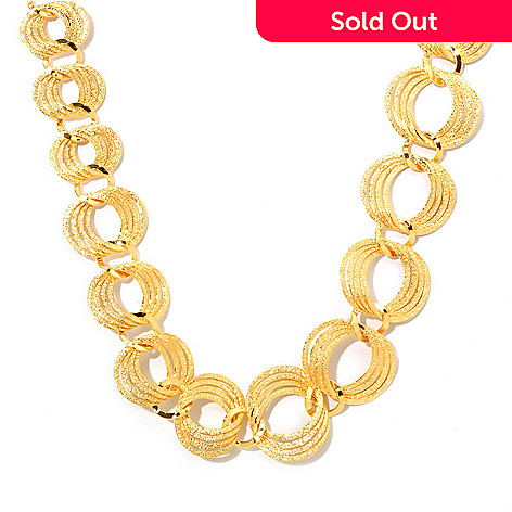 121-339 - Portofino Gold Embraced™ 20'' Polished & Textured Link Necklace