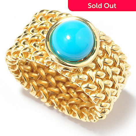 121-353 - Portofino 18K Gold Embraced™ Turquoise Mesh Ring