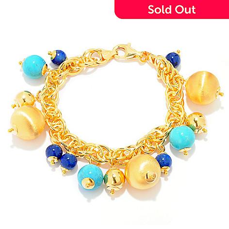 121-354 - Portofino 18K Gold Embraced™ Turquoise & Lapis Beaded Charm Bracelet