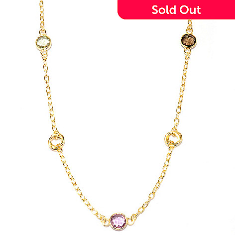 121-356 - Portofino 18K Gold Embraced™ 39'' Rolo Link Multi Gemstone Station Necklace