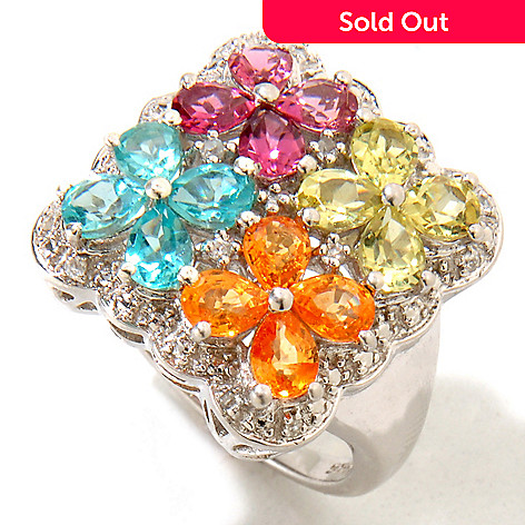 121-366 - NYC II® 2.39ctw Exotic Multi Gemstone ''Tucson Flower'' Ring