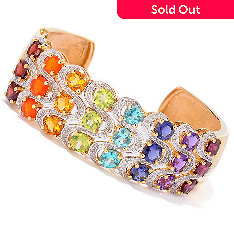121-370 - NYC II™ 10.20ctw Exotic Rainbow Hinged Cuff Bracelet