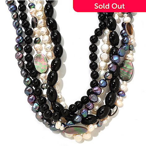 121-390 - 14K Gold 19.5'' Dyed & Natural Freshwater Cultured Pearl & Multi Gem Necklace