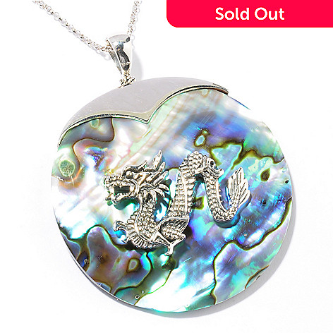121-399 - Gem Insider® Sterling Silver 50mm Abalone Dragon Pendant w/ 18'' Chain