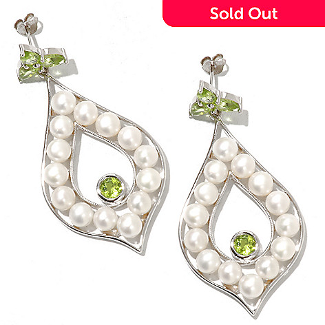 121-402 - Gem Insider Sterling Silver 5-5.5mm Freshwater Cultured Pearl & Gemstone Earrings