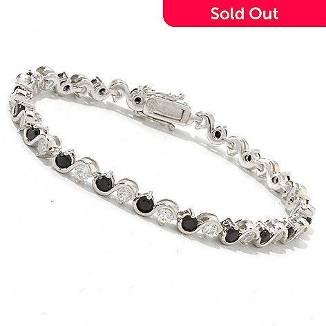 121-409 - Gem Treasures® Sterling Silver 5.40ctw Black Spinel & White Zircon Bracelet