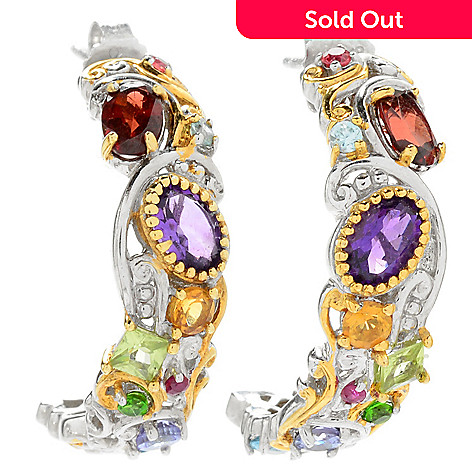 121-410 - Gems en Vogue 3.56ctw Multi Gemstone ''Carnaval'' J-Hoop Earrings