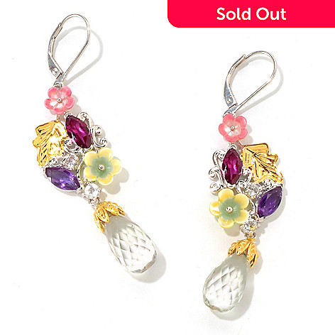 121-411 - Gems en Vogue 14.00ctw Multi Gemstone Briolette Drop Floral Earrings