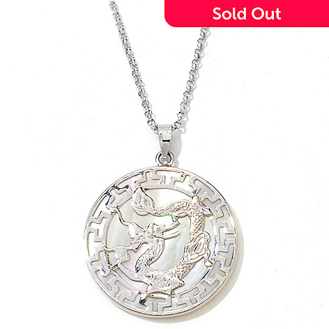 121-415 - Sterling Silver 25mm Mother-of-Pearl Dragon Medallion Pendant w/ Chain