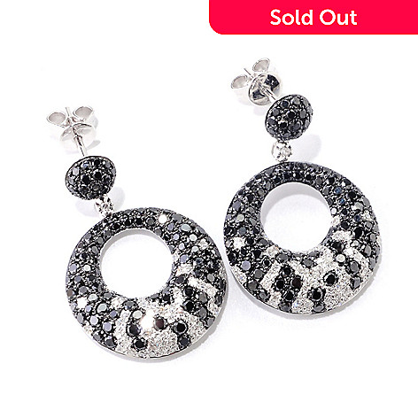 121-429 - EFFY 14K White Gold 2.40ctw Black & White Diamond Circle Earrings