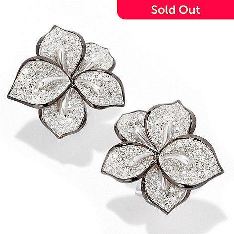 121-432 - EFFY 14K White Gold 0.85ctw Diamond Flower Earrings w/ Omega Backs