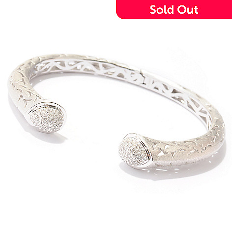 121-440 - EFFY Sterling Silver 7'' 0.60ctw Diamond ''Balissima'' Hinged Bangle Bracelet