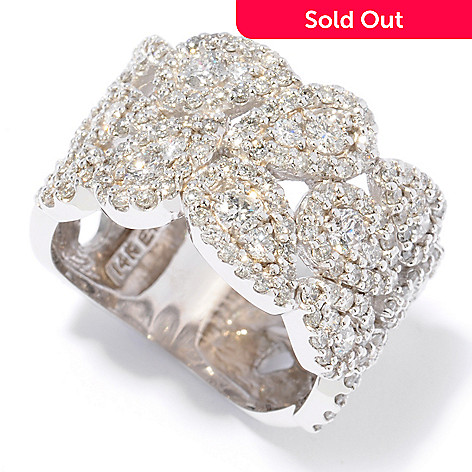 121-442 - EFFY 14K White Gold 1.80ctw Diamond Wide Band Ring