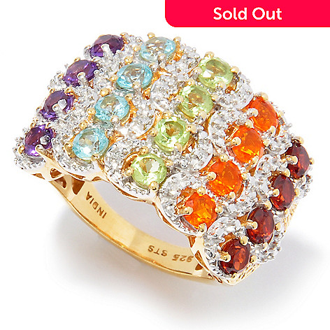 121-444 - NYC II™ 1.96ctw Multi Gem & Diamond Accent Rainbow Band Ring