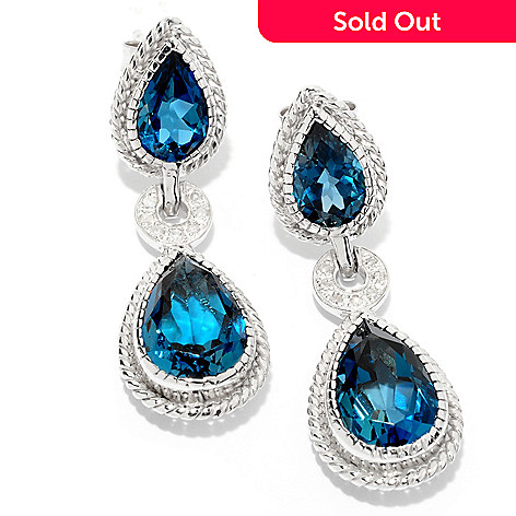 121-465 - NYC II™ 1.25'' 10.27ctw London Blue Topaz & Diamond Teardrop Earrings