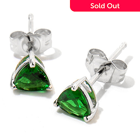 121-476 - Gem Treasures 14K White Gold Trillion Shaped Tsavorite Stud Earrings