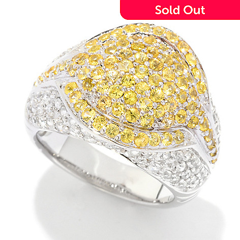 121-477 - Gem Treasures® Sterling Silver 2.64ctw Yellow Sapphire & White Zircon Pave Ring