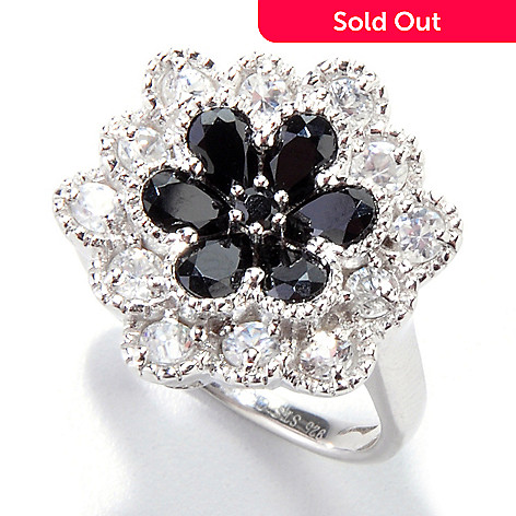 121-480 - NYC II 2.20ctw Black Spinel & White Zircon Flower Ring