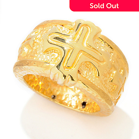 121-483 - Italian Designs with Stefano 14K ''Oro Vita'' Cross Ring