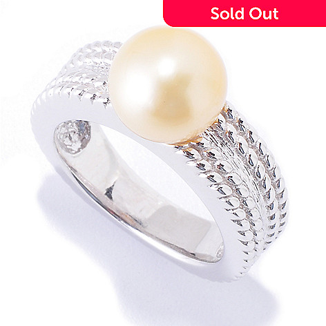 121-485 - Sterling Silver 9-10mm Golden South Sea Cultured Pearl Braided Ring