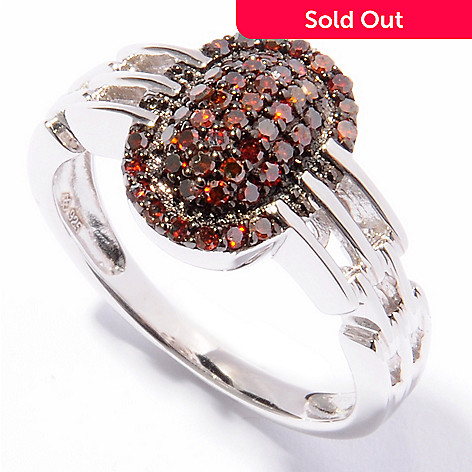 121-502 - Diamond Treasures® Sterling Silver 0.48ctw Red Diamond Woven Design Ring