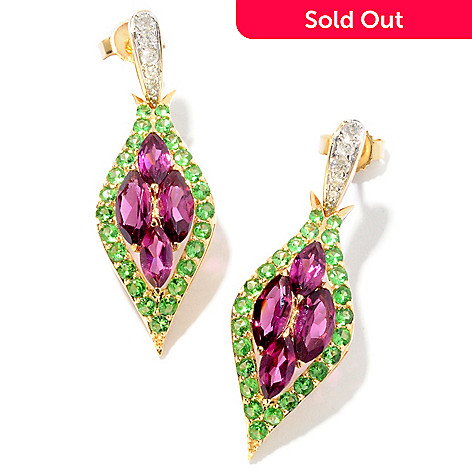 121-508 - Beverly Hills Elegance 14K Gold 3.42ctw Rhodolite Garnet, Tsavorite & Diamond Earrings