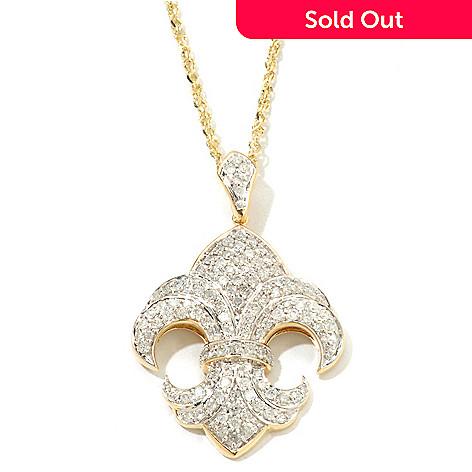 121-514 - Beverly Hills Elegance® 14K Gold 1.00ctw Diamond Fleur-de-lis Pendant w/ Chain