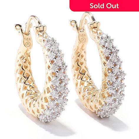 121-524 - Beverly Hills Elegance 14K Gold 0.60ctw Diamond Tapered Hoop Earrings