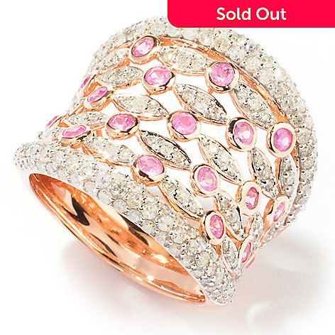 121-527 - Beverly Hills Elegance 14K Rose Gold 2.16ctw Diamond & Pink Sapphire Ring