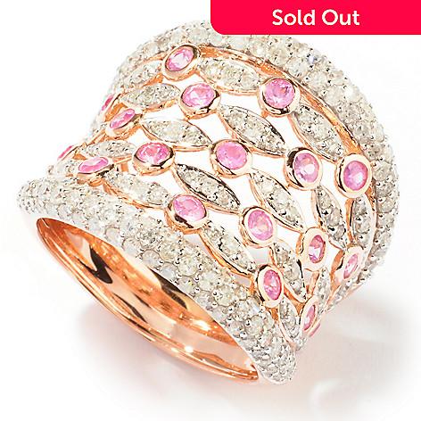 121-527 - Beverly Hills Elegance 14K Rose Gold 2.16ctw Diamond & Pink Sapphire Ring