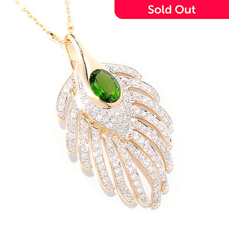 121-528 - Beverly Hills Elegance 14K Gold 2.04ctw Chrome Diopside & Diamond Pendant