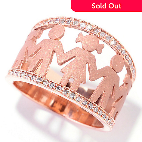 121-558 - EFFY 14K Rose Gold 0.23ctw Diamond People Silhouette Band Ring