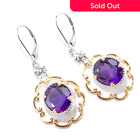 121-565 - Gems en Vogue II 8.82ctw Amethyst & White Sapphire Earrings