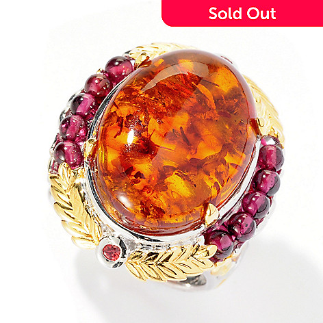 121-568 - Gems en Vogue II 20 x 15mm Baltic Amber, Garnet & Sapphire Oval Ring