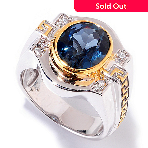 121-571 - Men's en Vogue II 5.68ctw London Blue Topaz & White Sapphire Ring