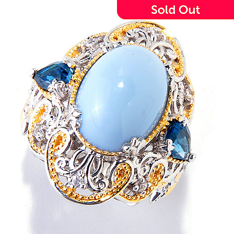 121-572 - Gems en Vogue II 14 x 10mm Blue Opal & Multi Gemstone Ring