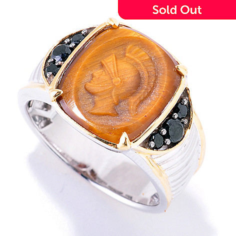 121-573 - Men's en Vogue Hand-Carved 14 x 12mm Tiger's Eye & Black Spinel Knight's Head Ring