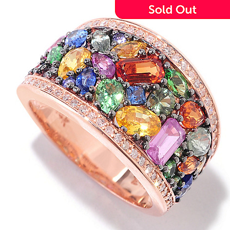 121-575 - EFFY 14K Rose Gold 3.80ctw Multi Sapphire, Tsavorite & Diamond Band Ring