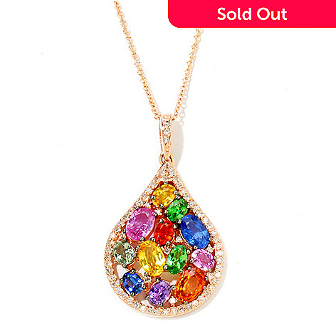 121-576 - EFFY 14K Rose Gold 3.86ctw Multi Gemstone Teardrop Pendant w/ Chain
