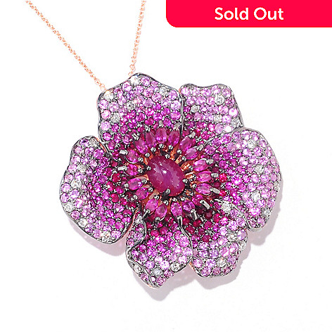 121-580 - Effy 14K Rose Gold 10.25ctw Innova™ Ruby, Sapphire & Diamond Flower Pendant