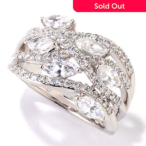121-587 - Brilliante® Platinum Embraced™ 2.12 DEW Simulated Diamond Dome Ring
