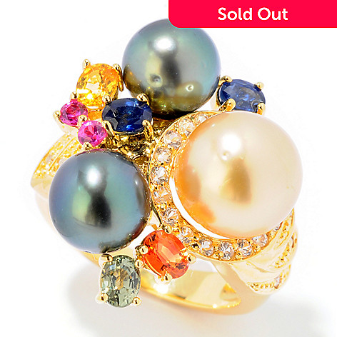 121-594 - Multi Gemstone, Tahitian & Golden South Sea Cultured Pearl Cluster Ring