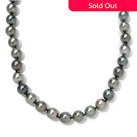 121-603 - 14K Gold 18'' 11-12mm Multi Color Tahitian Cultured Pearl & Diamond Necklace