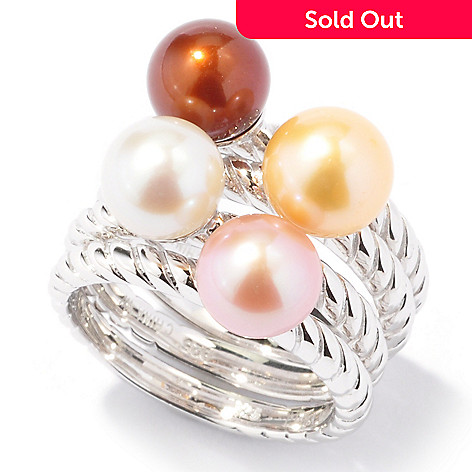 121-610 - Set of Four Sterling Silver 7-8mm Freshwater Cultured Pearl Stack Rings