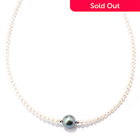 121-629 - Sterling Silver 17'' Freshwater & Tahitian Cultured Pearl Necklace