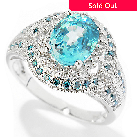 121-660 - Gem Treasures 14K White Gold 3.23ctw Blue Zircon & Multi Color Diamond Ring