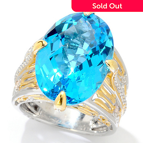 121-670 - Gems en Vogue 14.84ctw Swiss Blue Topaz & White Sapphire Ring