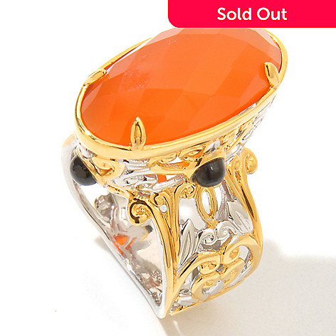 121-672 - Gems en Vogue 20 x 10mm Checkerboard Cut Oval Carnelian & Black Spinel Ring