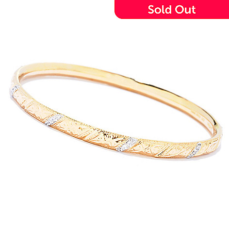 121-679 - Sonia Bitton for Brilliante® Two-tone Round Cut Textured Slip-on Bangle Bracelet