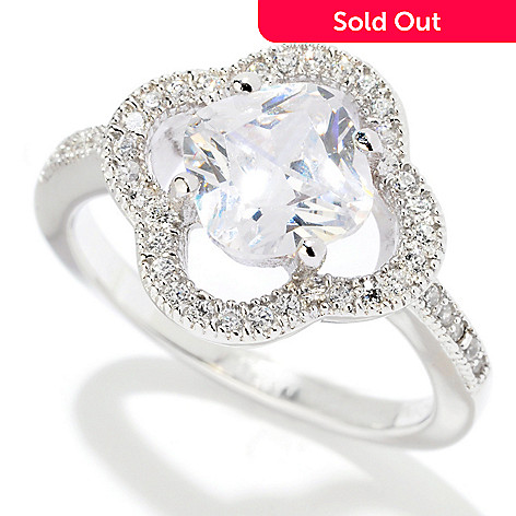 121-681 - Brilliante® Platinum Embraced™ 3.32 DEW Cushion Cut Clover Halo Ring